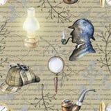 Modello senza cuciture dell'acquerello con gli oggetti di Sherlock Holmes illustrazione di stock