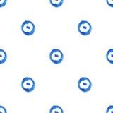 Modello senza cuciture dell'acquerello con i cerchi ed i punti Fotografia Stock Libera da Diritti