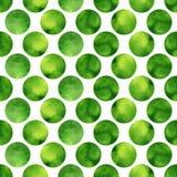 Modello senza cuciture dell'acquerello con i cerchi strutturati verdi Fondo di vettore Fotografia Stock