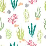 Modello senza cuciture dell'acquerello con i coralli, le alghe, le coperture e le pietre royalty illustrazione gratis