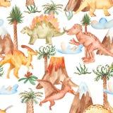 Modello senza cuciture dell'acquerello con i dinosauri, montagne, palme, piante illustrazione vettoriale