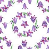 Modello senza cuciture dell'acquerello con i fiori blu di campanule Progettazione floreale rustica per gli inviti ed i biglietti  Fotografia Stock Libera da Diritti
