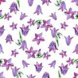 Modello senza cuciture dell'acquerello con i fiori blu di campanule Progettazione floreale rustica per gli inviti ed i biglietti  Fotografia Stock