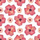 Modello senza cuciture dell'acquerello con i fiori del papavero Fondo della pittura della mano Può essere usato per progettazione illustrazione vettoriale