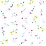 Modello senza cuciture dell'acquerello con i fiori e le foglie luminosi illustrazione vettoriale