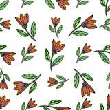 Modello senza cuciture dell'acquerello con i fiori etnici Modello senza cuciture disegnato a mano di vettore La struttura può ess royalty illustrazione gratis