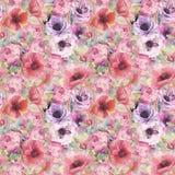 Modello senza cuciture dell'acquerello con i fiori, gli anemoni, i papaveri, le rose e le farfalle Carta da parati botanica roman illustrazione vettoriale