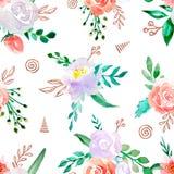 Modello senza cuciture dell'acquerello con i fiori illustrazione vettoriale