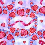 Modello senza cuciture dell'acquerello con i fiori Priorità bassa floreale dell'annata illustrazione vettoriale