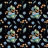 Modello senza cuciture dell'acquerello con i fiori selvaggi su un fondo nero illustrazione di stock