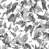 Modello senza cuciture dell'acquerello con i wildflowers, i riccioli e la b porpora illustrazione vettoriale