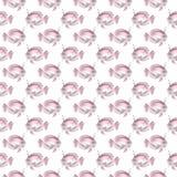 Modello senza cuciture dell'acquerello con il pesce rosa dell'unicorno Fronte delle donne disegnate a mano di illustration royalty illustrazione gratis
