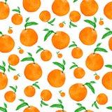 Modello senza cuciture dell'acquerello con le arance e le foglie, illustrazione dell'acquerello della mano Modello saporito perfe illustrazione vettoriale