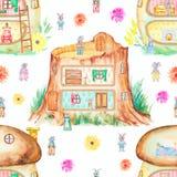 Modello senza cuciture dell'acquerello con le case favolose illustrazione vettoriale