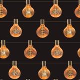 Modello senza cuciture dell'acquerello con le lampade d'annata di edison Fotografia Stock