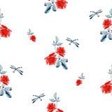 Modello senza cuciture dell'acquerello con le rose rosse, le foglie del blu e la libellula su fondo bianco Fotografie Stock