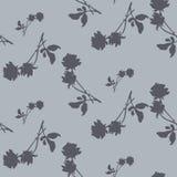 Modello senza cuciture dell'acquerello con le siluette delle rose e delle foglie grigio scuro su fondo grigio chiaro Motivi cines royalty illustrazione gratis