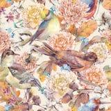 Modello senza cuciture dell'acquerello d'annata con gli uccelli e il bouque di autunno royalty illustrazione gratis