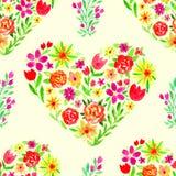 Modello senza cuciture dell'acquerello della primavera con i cuori floreali Illustrazione di giorno della donna Bandiera dei fior Immagini Stock Libere da Diritti