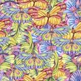 Modello senza cuciture dell'acquerello delle farfalle variopinte d'annata illustrazione di stock