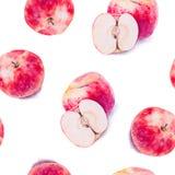 Modello senza cuciture dell'acquerello delle mele fresche illustrazione vettoriale