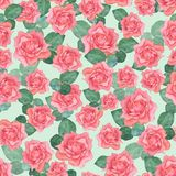 Modello senza cuciture dell'acquerello delle rose 2 Illustrazione Vettoriale