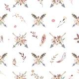 Modello senza cuciture dell'acquerello di Boho delle frecce e fiori selvaggi, foglie, fiori dei rami, illustrazione isolata, ucce Immagini Stock