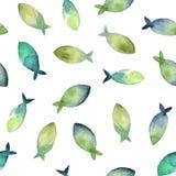 Modello senza cuciture dell'acquerello di verde semplice e del blu della siluetta Fotografia Stock Libera da Diritti