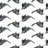Modello senza cuciture dell'acquerello disegnato a mano delle siluette di un gattino grazioso nero Immagine Stock