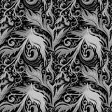 Modello senza cuciture dell'acquerello disegnato a mano dell'estratto con l'ornamento floreale grigio, linee ondulate, scarabocch fotografie stock libere da diritti