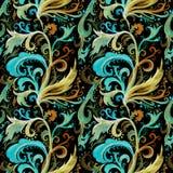 Modello senza cuciture dell'acquerello disegnato a mano dell'estratto con l'ornamento floreale marrone ed ocraceo del turchese, r fotografia stock libera da diritti