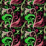 Modello senza cuciture dell'acquerello disegnato a mano dell'estratto con l'ornamento floreale rosso, verde ed ocraceo, riccioli, fotografia stock libera da diritti
