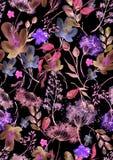 Modello senza cuciture dell'acquerello, fondo con un modello floreale Bei disegni d'annata delle piante, fiori, ramo del salice,  illustrazione di stock