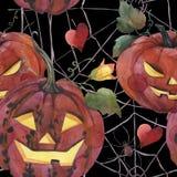 Modello senza cuciture dell'acquerello Halloween Zucche spettrali con gli occhi leggeri illustrazione vettoriale