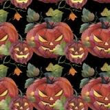 Modello senza cuciture dell'acquerello Illustrazione di Halloween Pompa spettrale royalty illustrazione gratis