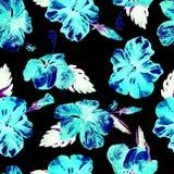 Modello senza cuciture dell'acquerello Illustrazione dipinta a mano delle foglie e dei fiori tropicali Motivo tropicale di estate Fotografie Stock