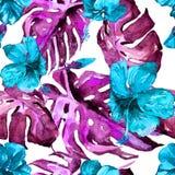 Modello senza cuciture dell'acquerello Illustrazione dipinta a mano delle foglie e dei fiori tropicali Motivo tropicale di estate Fotografia Stock