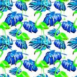 Modello senza cuciture dell'acquerello Illustrazione dipinta a mano delle foglie e dei fiori tropicali Motivo tropicale di estate Fotografie Stock Libere da Diritti