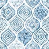Modello senza cuciture dell'acquerello Ornamento blu e bianco d'annata te royalty illustrazione gratis
