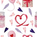 Modello senza cuciture dell'acquerello per il giorno di biglietti di S. Valentino royalty illustrazione gratis