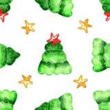 Modello senza cuciture dell'albero di Natale dell'acquerello royalty illustrazione gratis