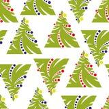 Modello senza cuciture dell'albero di Natale astratto su un backgroun bianco Fotografia Stock