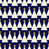 Modello senza cuciture dell'albero di Natale con le stelle e la ghirlanda struttura di ripetizione per carta da imballaggio, nata illustrazione vettoriale