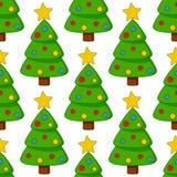 Modello senza cuciture dell'albero di Natale del fumetto Fotografie Stock