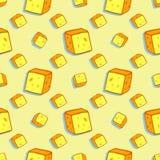 Modello senza cuciture dell'alimento con il formaggio di molte fette Immagine Stock
