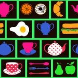Modello senza cuciture dell'alimento e della bevanda di prima colazione Immagine Stock Libera da Diritti