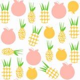 Modello senza cuciture dell'ananas È situato nel menu del campione, vect Fotografia Stock