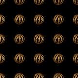 Modello senza cuciture dell'anguria dipinta a mano dell'oro Immagini Stock Libere da Diritti