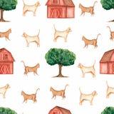 Modello senza cuciture dell'azienda agricola dell'acquerello Animali domestici Oggetti disegnati a mano: gatto, cane, albero, gra illustrazione vettoriale