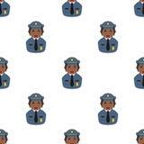 Modello senza cuciture dell'icona nera della poliziotta Immagini Stock Libere da Diritti